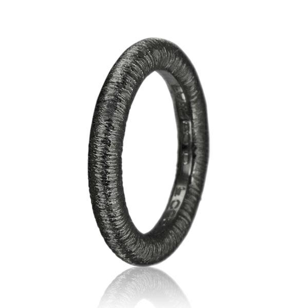 rillet sort sølvring